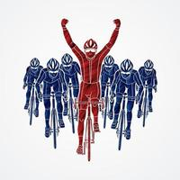 Group of Bicycle Riders and The Winner vector