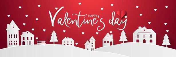 Feliz día de San Valentín con hogar, dulce pueblo natal y fondo nevado. papel tapiz de paranoma abstracto rojo. arte digital ciudad papel arte paisaje concepto estilo. vector de diseño gráfico de tarjeta de felicitación