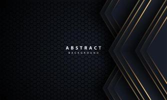 Flecha de línea dorada abstracta en negro con diseño de malla hexagonal Ilustración de vector de fondo de tecnología futurista de lujo moderno.