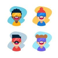 Virtual reality expressions flat design vector