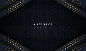 Abstract gold line arrow on black with hexagon mesh design modern luxury futuristic technology background vector illustration.