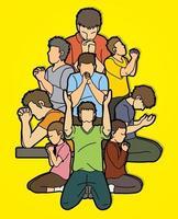 grupo de personas rezando a dios vector