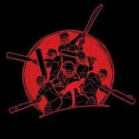 Group of Cricket Players Action Poses vector