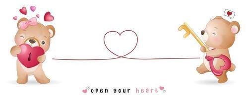 lindo oso doodle para la colección del día de san valentín vector