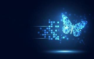 Fondo de tecnología abstracta de mariposa azul lowpoly futurista. transformación digital de inteligencia artificial y concepto de big data. Concepto de evolución de la comunicación de la red de internet cuántica empresarial