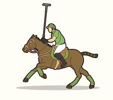 Polo Horse and Player Sport Action Pose vector
