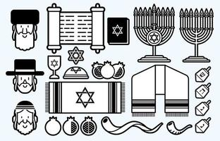 Jewish Cartoon Icon Set Outline vector
