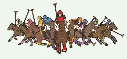 Polo Horses and Players Action Poses vector