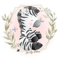 Cute doodle zebra with floral illustration vector