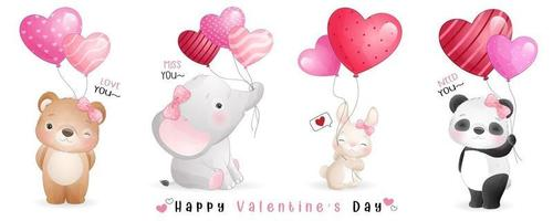 lindos animales doodle para la colección del día de san valentín