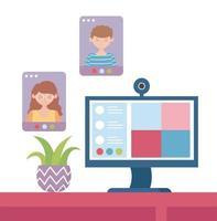 concepto de reunión en línea con computadora vector