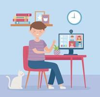 Online meeting concept with man on the computer vector