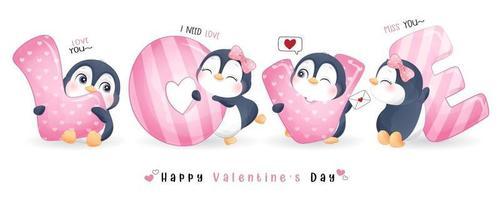 lindo pingüino doodle para la colección del día de san valentín