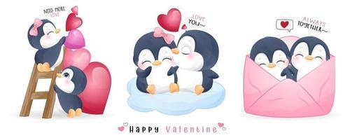 lindo pingüino doodle para la colección del día de san valentín vector