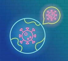 Neon light with coronavirus prevention icon vector