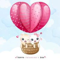 Cute doodle kitty flying with air balloon for valentines day vector
