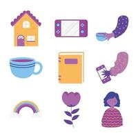 home activities icon set vector