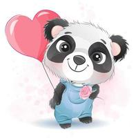 Cute little panda with watercolor illustration vector