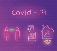 luz de neón con icono de prevención de coronavirus