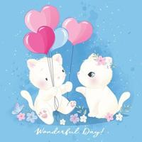 Cute little kitty with watercolor illustration vector
