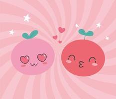 dibujos animados de frutas kawaii con diferentes expresiones de caras vector