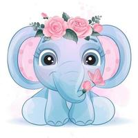 Cute little elephant with watercolor illustration vector