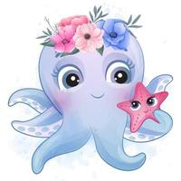 Cute little octopus with watercolor illustration vector