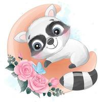 Cute little raccoon with watercolor illustration vector