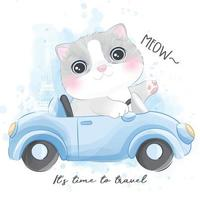 Cute little kitty with watercolor illustration