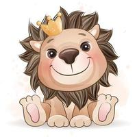 Cute little lion with watercolor illustration vector