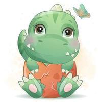 pequeño dinosaurio lindo con ilustración de acuarela vector