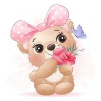 Cute little bear with watercolor illustration vector