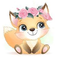 lindo y pequeño foxy con ilustración de acuarela vector