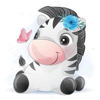 Cute little zebra with watercolor illustration vector