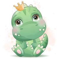 Cute little dinosaur with watercolor illustration vector