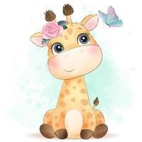 Cute little giraffe with watercolor illustration vector