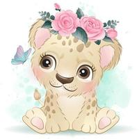 Cute little leopard with watercolor illustration vector