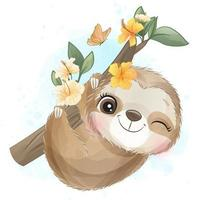 Cute little sloth with watercolor illustration vector