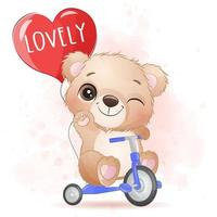 Cute little bear riding a bicycle illustration vector
