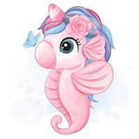 Cute little seahorse illustration vector