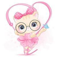 Cute little kitty with ballerina illustration vector