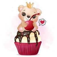 Cute little bear sitting in the cupcake illustration vector