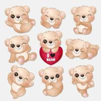 Cute little bear poses collection vector