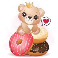 Cute little bear sitting in the donuts illustration vector