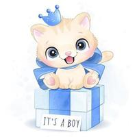 Cute little kitty boy sitting in the gift box illustration vector