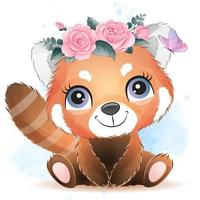 Cute little red panda with watercolor illustration vector