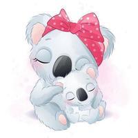 Cute koala bear mother and baby illustration vector