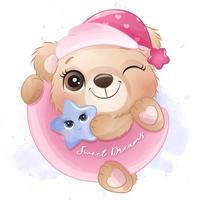 Cute little bear hanging a moon illustration vector