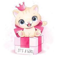 Cute little kitty girl sitting in the gift box illustration vector
