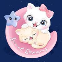 Cute little kitty sleeping in a moon illustration vector
